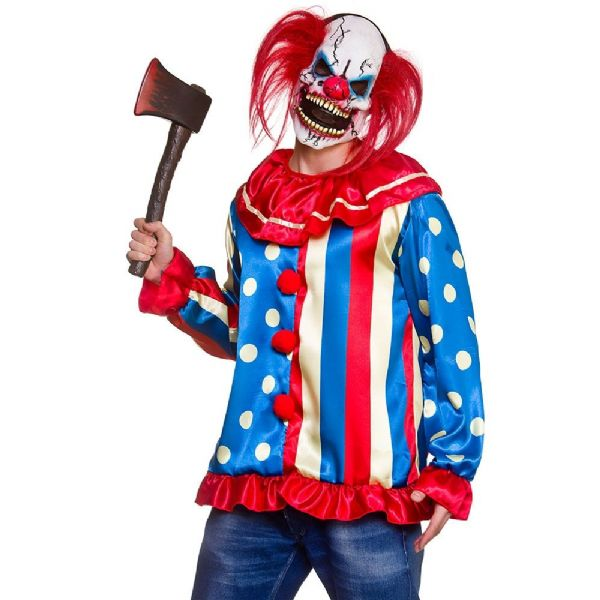 Adults Krazy Killer Clown & Mask Costume Mens Halloween Fancy Dress